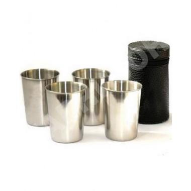 Набор из 4 стаканов металических средний в кожаном чехле